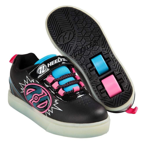 Heelys X2 Pow Lighted Black Blue Pink Two Wheel Heelys - Main View
