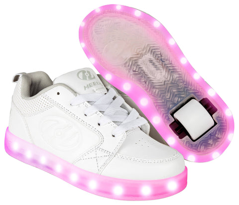 White Light Up Heelys  - Main View
