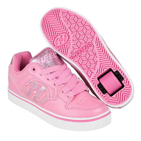 Heelys Motion Plus Light Pink roller shoes with single wheel in each heel