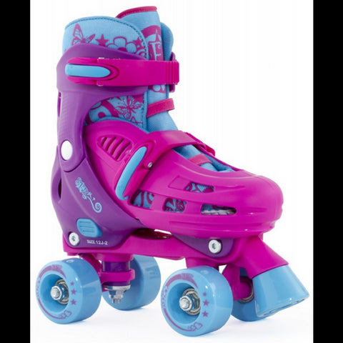 Pink Blue Adjustable Roller Skates - Main View