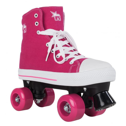 Pink Canvas Quad Roller Skates - Main View
