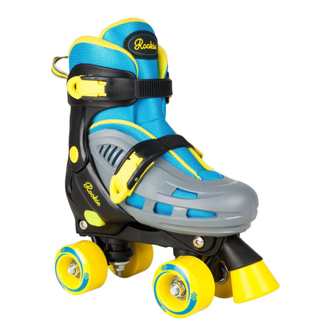 ROOKIE DUO ADJUSTABLE QUAD ROLLER SKATES FOR KIDS IN  BLUE/YELLOW