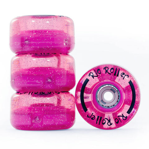 Pink Glitter Light Up Roller Skate Wheels - Main View