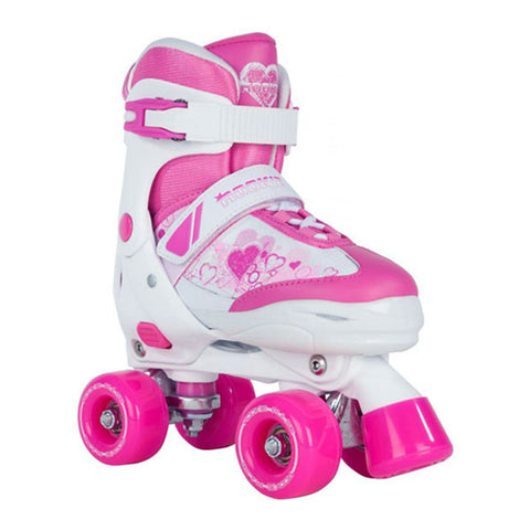 White Pink Adjustable Roller Skates - Main View