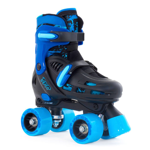 Black Blue Adjustable Roller Skates - Main View