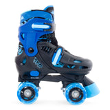 Black Blue Adjustable Roller Skates - Side View