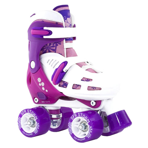 White Purple Adjustable Roller Skates - Main View