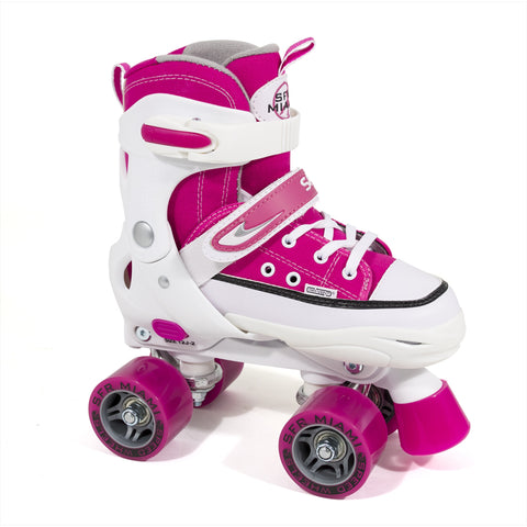 White Pink Adjustable Kids Roller Skate - Main View