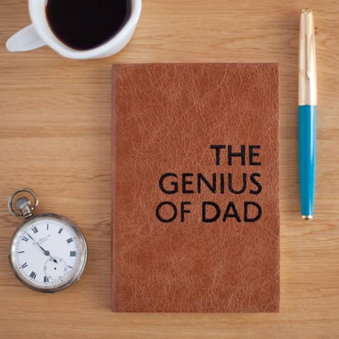 genius of dad personalised leather journal