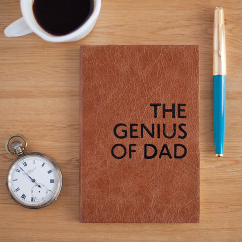 Genius of Dad - leather notebook for Fathers Day - perfect Dad gift