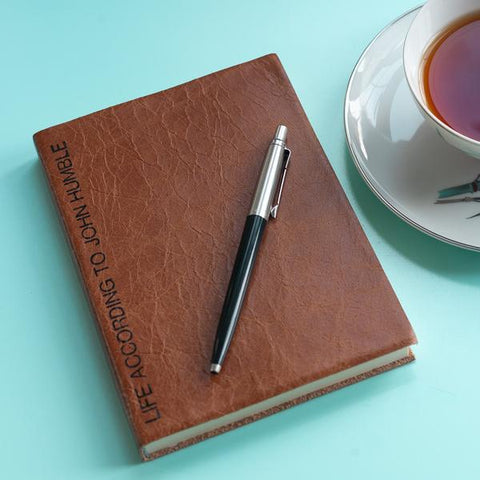 leather notebook - personalised leather notebook with message along the spine
