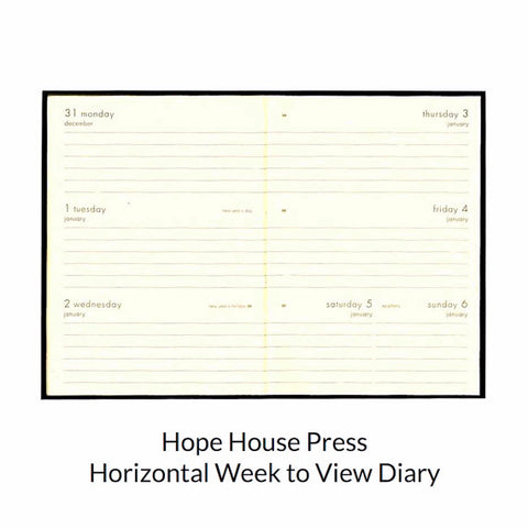 Horizontal week to view diary 2017