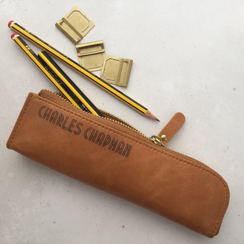 Tan leather pencil case personalisaed