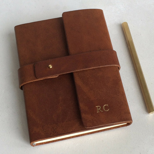 beautiful luxury leather journal with gold foil personalisation