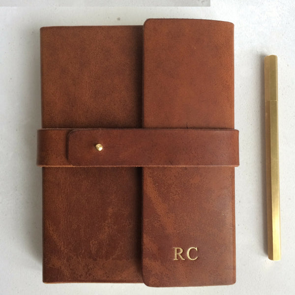 heavyweight leather journal personalised with gold foil