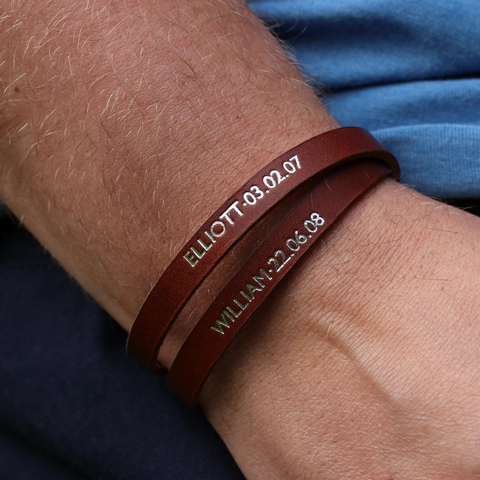 personalised bracelet - leather gift with personalised names