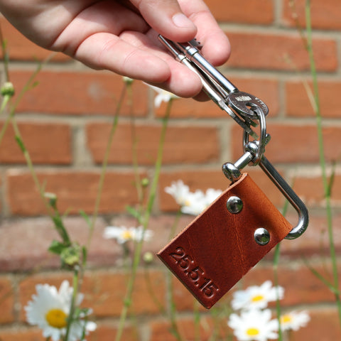 personalised leather keyring - custom leather keyring - handmade leather anniversary gift by Hope House Press