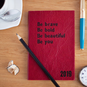 2019 diary - Personalised Diary: Be Bold, Be Brave - leather diary Diary / Journal- Hope House Press
