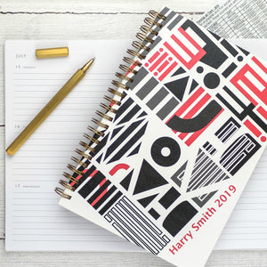 2019 diary - A5 diary - weekly diary or daily diary with personalisation, graphic design - Hope House Press