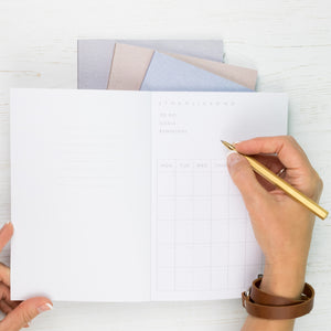 Personalised 2020 diary planners with herringbone design - set of four 90 day planners with monthly summary pages - Hope House Press