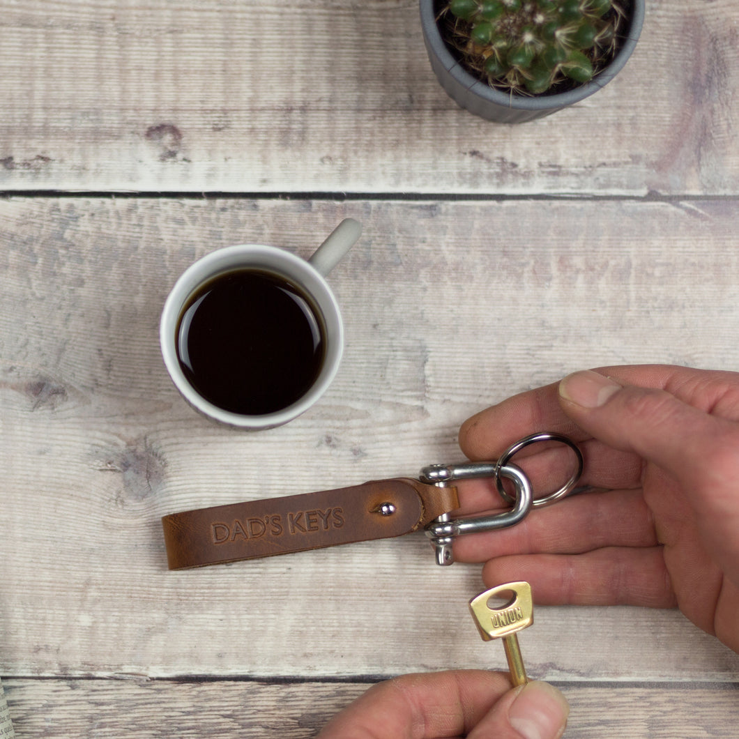 PERSONALISED LEATHER KEYRING - PERFECT FOR FATHER'S DAY