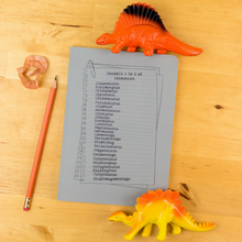 A to Z of all things dinosaur - dinosaur A to Z - personalised dinosaur notebook - dinosaur adventures - Hope House Press