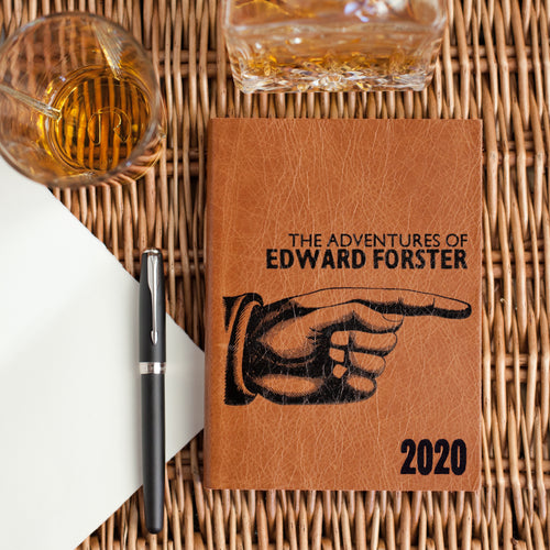 2020 personalised diary - 2020 leather diary - Letterpress diary with pointing hand Diary / Journal- Hope House Press