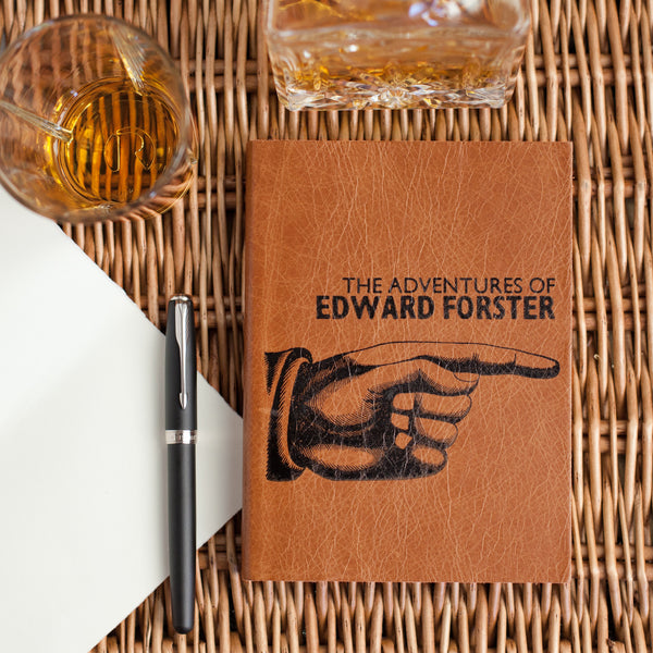 Pointing Hand Notebook - personalised leather notebook / journal by Hope House Press