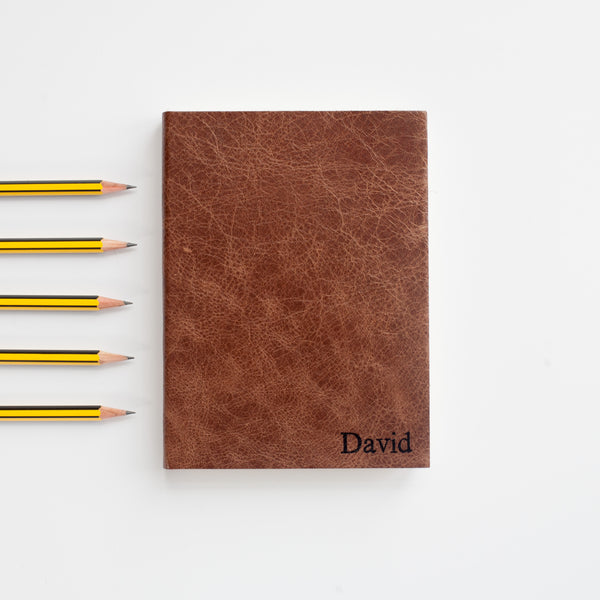 Personalised leather notebook / journal - Small font personalisation - by Hope House Press