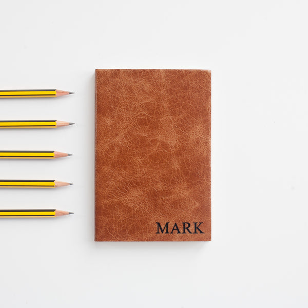 Small Serifed Capitals notebook - personalised leather notebook / journal by Hope House Press