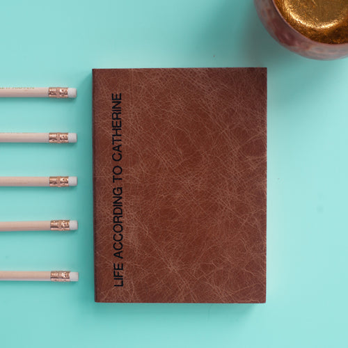 Leather notebook - personalised notebook in leather with sideline printing Notebooks / Journals- Hope House Press