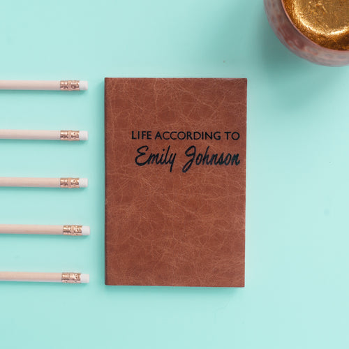 2019 diary - leather  personalised diary - life according to with script font Diary / Journal- Hope House Press