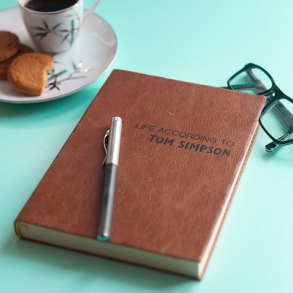 Personalised diary - life according to diary - luxury leather diary by Hope House Press