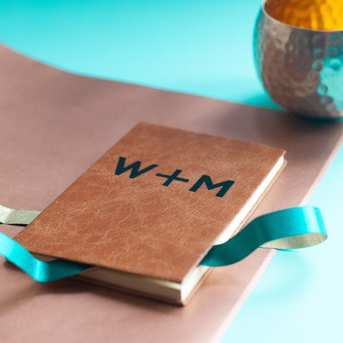 initials notebook for two - personalised leather notebook, hand made by hope house press Diary / Journal- Hope House Press