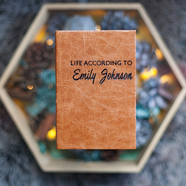 Personalised Diary - Life According To - personalised diary with script lettering in luxury leather, from Hope House Press