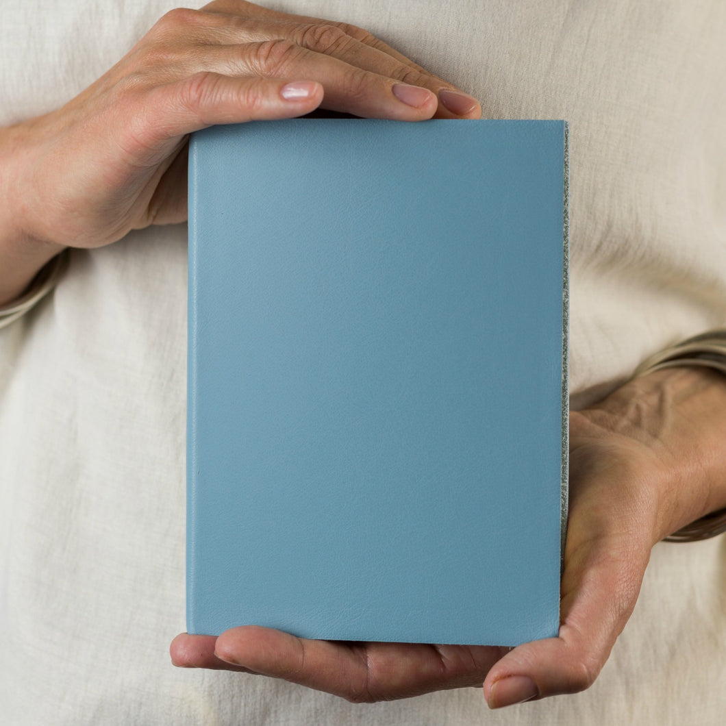 Pale Blue leather notebook - personalised leather journal notebook - make your own - hope house press - Hope House Press