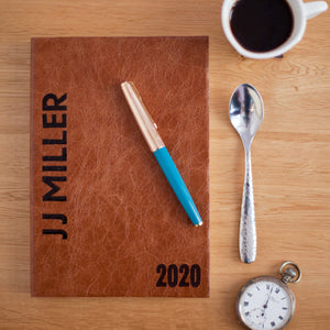 2020 diary - 2020 personalised diary in leather with broadside styling Diary / Journal- Hope House Press