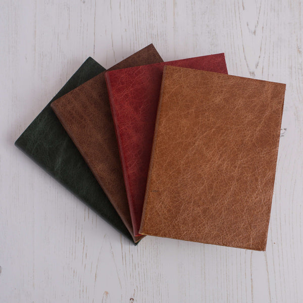 PERSONALISED NOTEBOOK / JOURNAL IN LEATHER WITH BROADSIDE STYLING