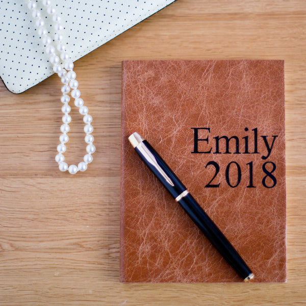 PERSONALISED LEATHER NOTEBOOK - POSTER PRINT NOTEBOOK - MADE BY HOPE HOUSE PRESS