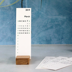 Personalised calendar with wooden base - perfect for a desk or bedside table Pen- Hope House Press