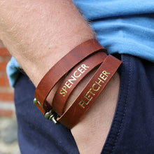 Personalised bracelet. Made with leather and stainless steel. - Hope House Press