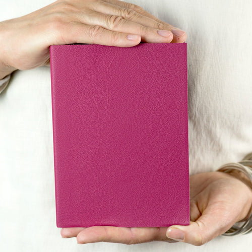 Leather personalised notebook - hand made - bright pink leather - make your own - Hope House Press - Hope House Press