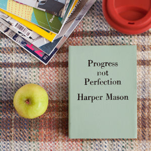 Vintage Personalised notebook - Progress Not Perfection - vintage style luxury leather notebook by Hope House Press Notebooks / Journals- Hope House Press