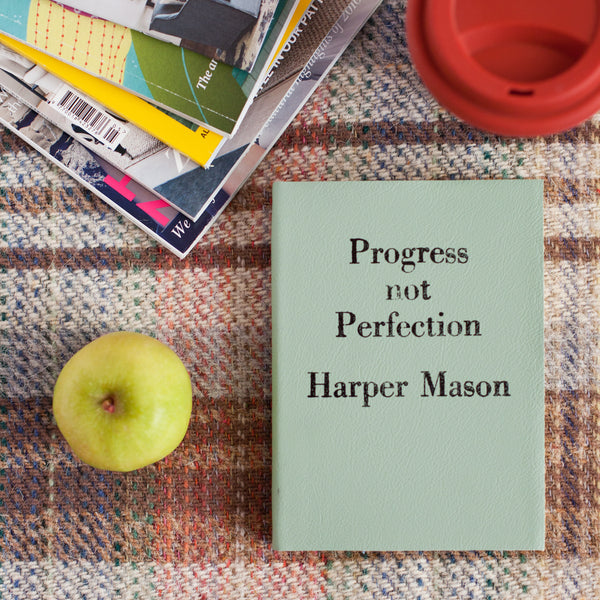 Vintage Personalised notebook - Progress Not Perfection - vintage style luxury leather notebook by Hope House Press
