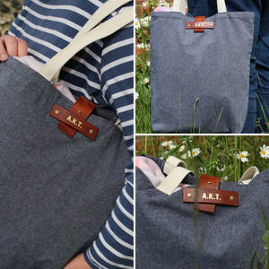 Personalised tote bag - denim styling with cotton and leather fastening - Hope House Press