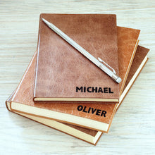 personalised notebook in luxury leather with small capitals personalisation - by hope huse press Notebooks / Journals- Hope House Press