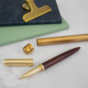 Wood and brass pen with unique metal case Pen- Hope House Press