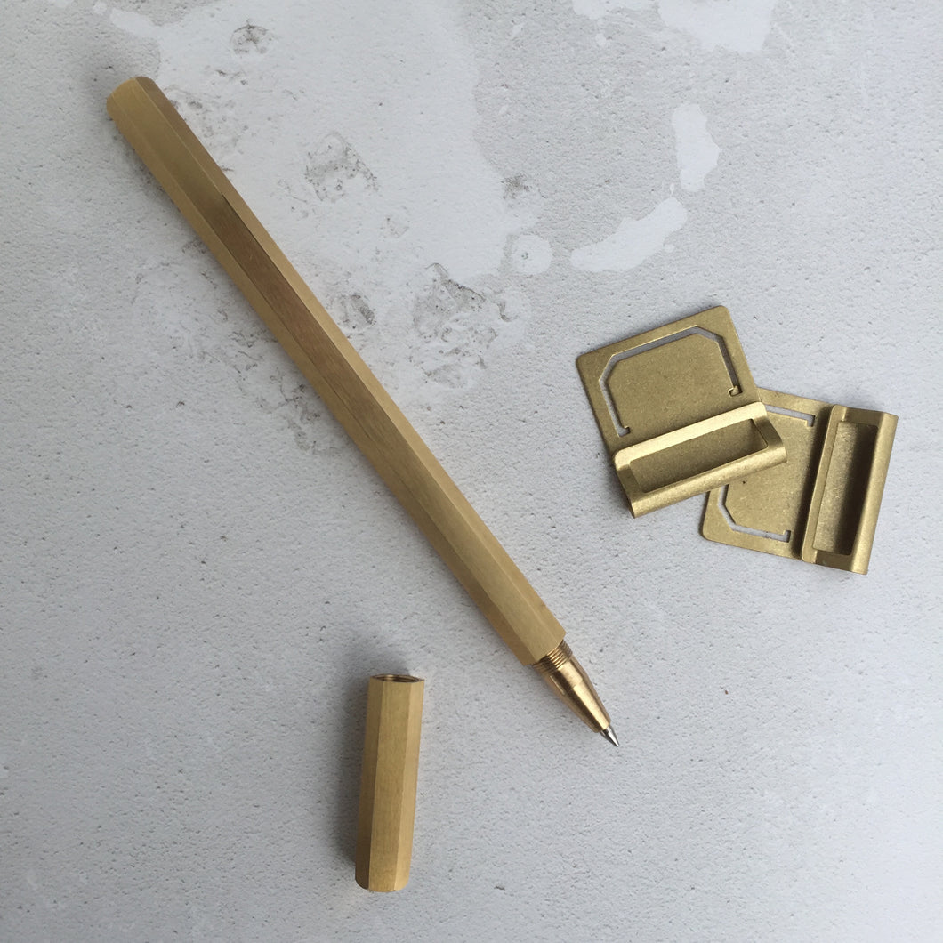 Hexagonal pen in brass with twist cap - Hope House Press