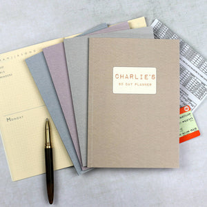 Personalised 2019 diary planners with herringbone design - set of four 90 day planners with monthly summary pages - Hope House Press