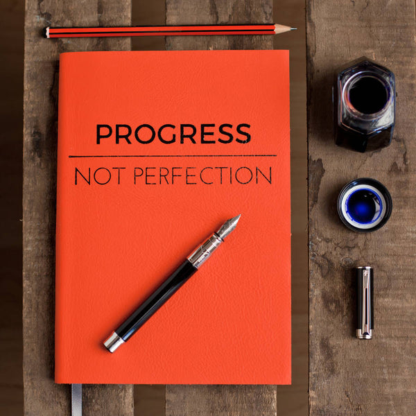 Personalised Notebook / Journal - Progress Not Perfection - luxury leather notebook by Hope House Press